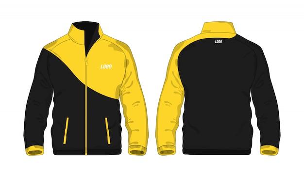 Sport jas geel en zwart sjabloon voor ontwerp op witte achtergrond.