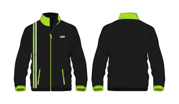 Sport jas groen en zwart sjabloon voor ontwerp op witte achtergrond.