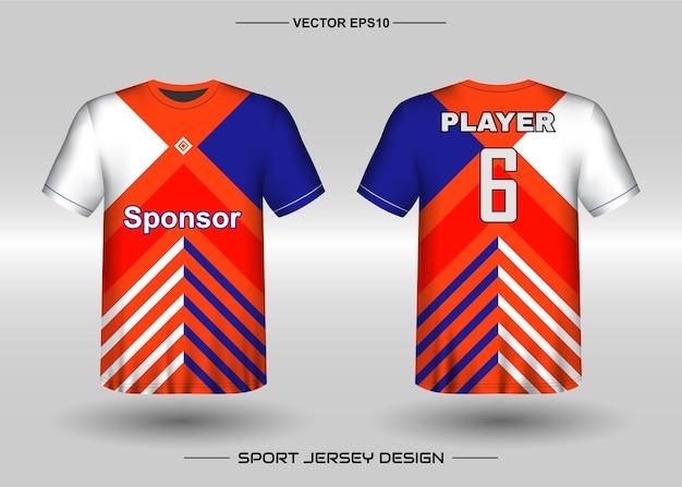 Sport jersey ontwerpsjabloon voor voetbalteam met blauwe en oranje kleur