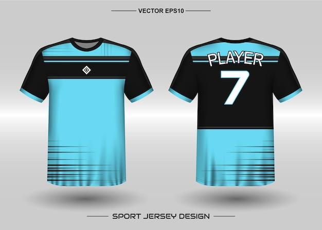 Sport jersey ontwerpsjabloon voor voetbalteam met zwarte en blauwe kleur