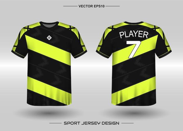 Sport jersey ontwerpsjabloon voor voetbalteam met zwarte en gele kleur