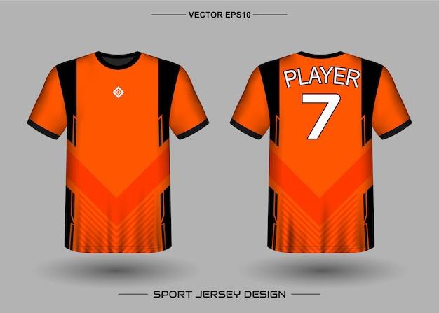 Sport jersey ontwerpsjabloon voor voetbalteam met zwarte en oranje kleur
