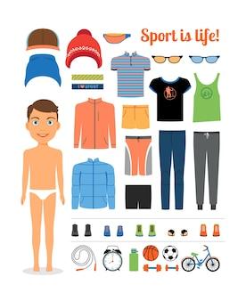 Sport jongen. kleding en sportuitrusting voor fitness. sportkleding, hoed, jas. vector illustratie