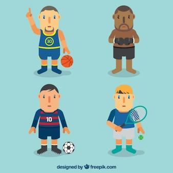 Sport karakters verpakken in plat design