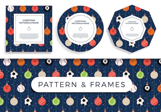 Sport kerst naadloze patroon en frame kerst patroon