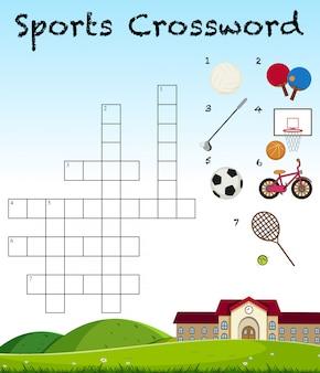 Sport kruiswoordraadselspel sjabloon