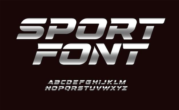 Sport lettertype met chromen textuur trendy letters ontwerp voor sport auto auto moto speed race en