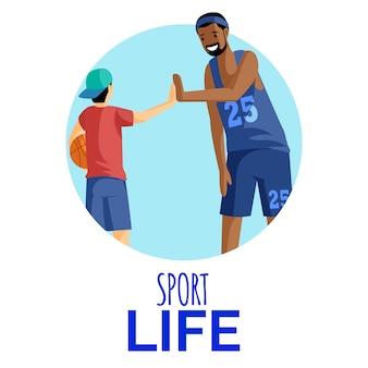 Sport leven vlakke afbeelding. basketbalspeler en ventilator geven high five in cirkelvormig frame. atleten, sporters, coach en speler stripfiguren geïsoleerd op wit