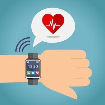 Sport levensstijl gezondheidsmonitoring. hand met smartwatch