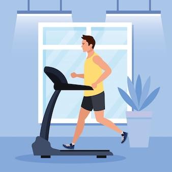 Sport, man loopt op de loopband in het huis, sport persoon op de elektrische training machine in de sportschool thuis