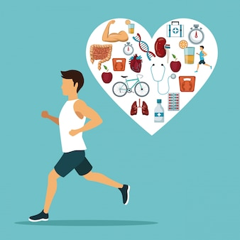 Sport man ruïneert met hartvorm met iconen van gezondheid
