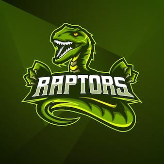 Sport mascotte logo ontwerp vector sjabloon esport cobra raptor dino dinosaurussen