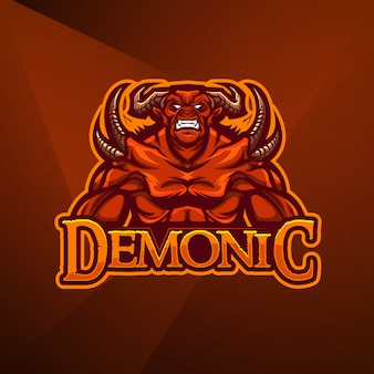 Sport mascotte logo ontwerp vector sjabloon esport demon duivel monster hel