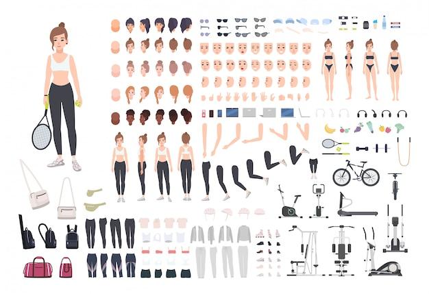 Sport meisje karakter constructor. fitness vrouw creatie set.