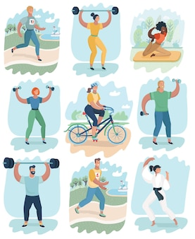 Sport mensen activiteiten pictogrammen instellen boksen voetbal roeien kanoën badminton basketbal handbal gazon t...