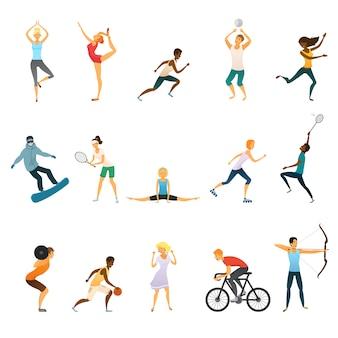 Sport mensen plat gekleurde pictogrammen instellen