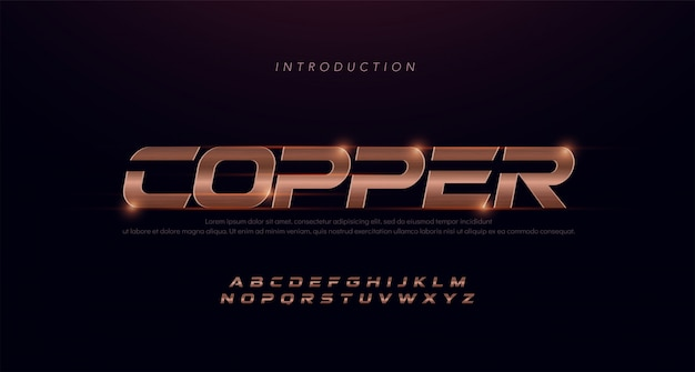 Sport modern cursief alfabet koperen lettertype. typografie 3d roestvrij haarlijn koperen lettertypen