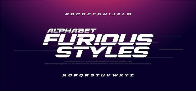 Sport modern snel woedend cursief alfabet lettertype