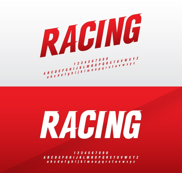 Sport moderne alfabet en nummer. racing cursief lettertype
