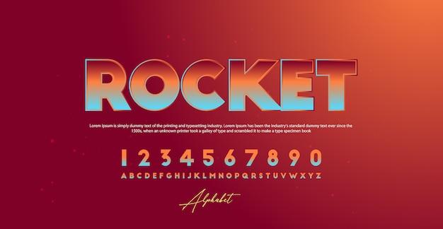 Sport moderne technologie alfabet nummer lettertypen