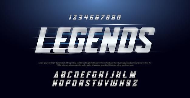Sport moderne typografie cursief alfabet lettertypen en aantal ingesteld
