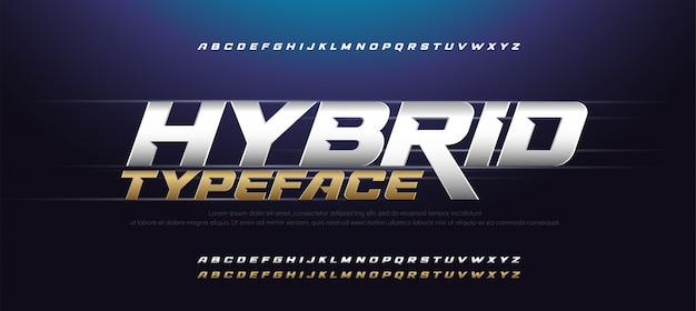 Sport moderne typografie cursief alfabet lettertypen instellen