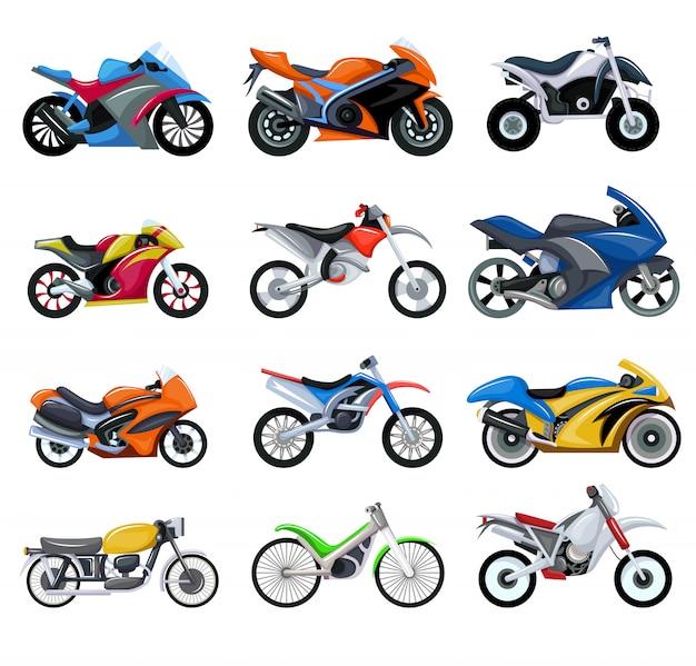 Sport motorfietsen vervoeren illustratie set van cartoon motoren collectie.