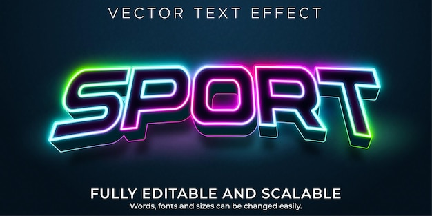 Sport neon bewerkbaar teksteffect, esport en licht tekststijl
