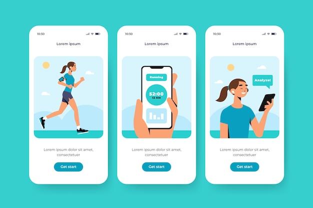 Sport onboarding app-schermen