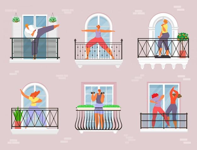 Sport op balkon, quarantaine huis illustratie. persoonskarakter oefent thuis, yogameisje bij coronavirus-levensstijl.