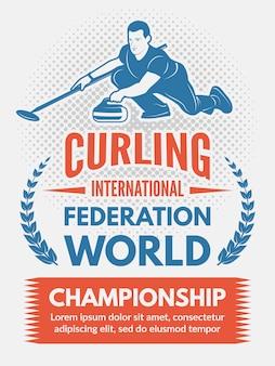 Sport poster ontwerpsjabloon met illustratie van curling game