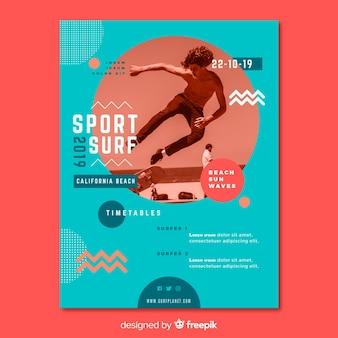 Sport poster sjabloon met afbeelding
