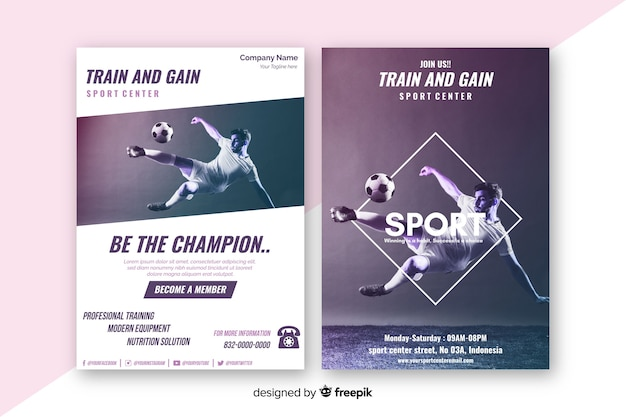 Sport poster sjabloon met chiaroscuro afbeelding