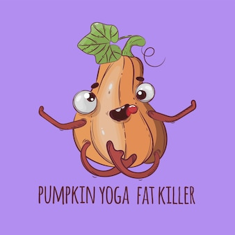 Sport pumpkin yoga grappige halloween cartoon hand getrokken illustratie