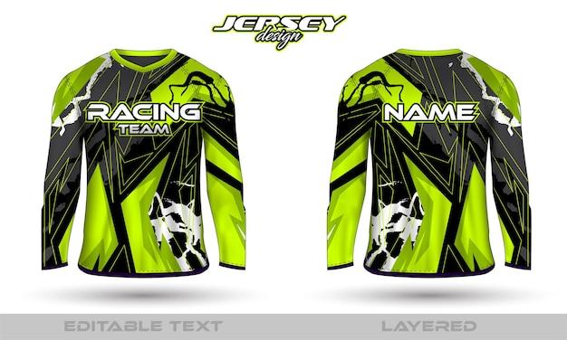 Sport-racepak met lange mouwen, t-shirtontwerp aan de voorkant. sportontwerp voor voetbalraces wielrennen gaming jersey