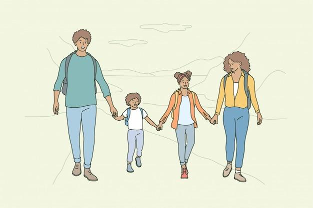 Sport, recreatie, activiteit, kamperen, wandelen vaderschap, moederschap, concept jeugd