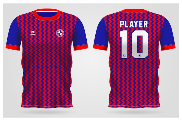 Sport rood blauw abstract jersey sjabloon voor teamuniformen en voetbal t-shirtontwerp