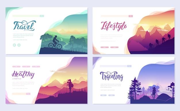Sport rustdag brochure kaarten set. toerisme op natuursjabloon van webbanner, ui-koptekst, site invoeren.