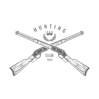 Sport schieten embleem met gekruiste geweren