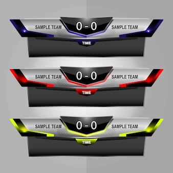 Sport scoreboard broadcast graphic en lower thirds
