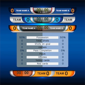 Sport scoreboard broadcast graphic en lower thirds