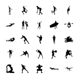 Sport silhouetten pictogrammen instellen