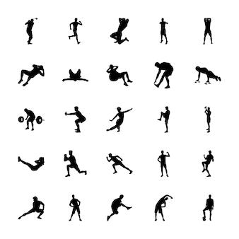 Sport silhouetten vectoren instellen
