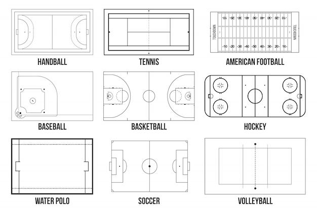 Sport spel velden markering achtergrond.