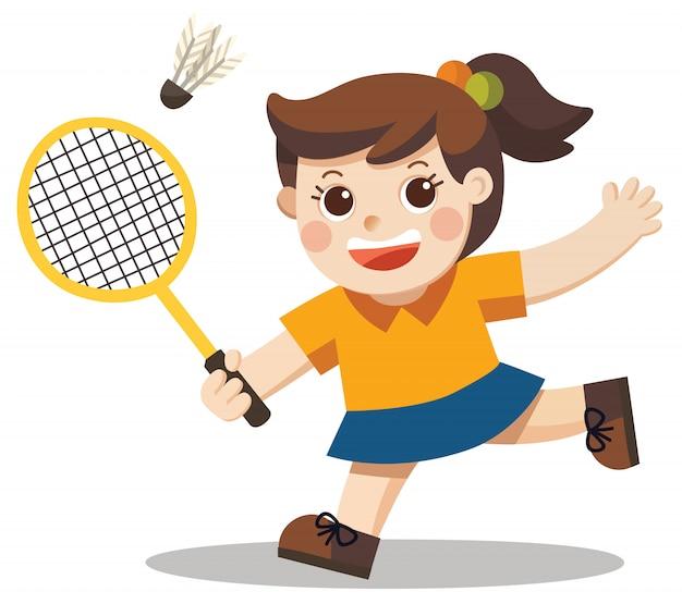 Sport speler. een schattig meisje badminton spelen.