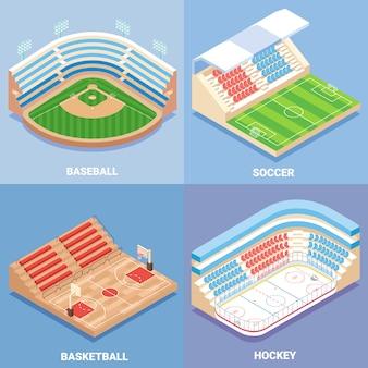 Sport stadion vector plat isometrische set