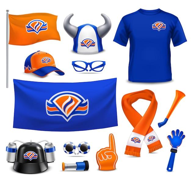 Sport supporters fans accessoires realistische set