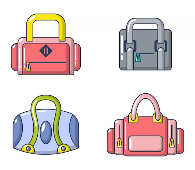 Sport tas pictogramserie. beeldverhaalreeks vectorpictogrammen van de sportzak geplaatst geïsoleerd