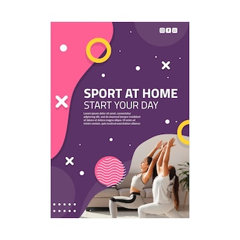 Sport thuis poster sjabloon