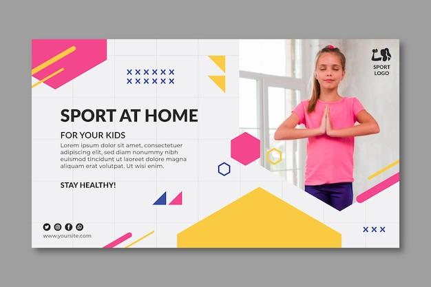 Sport thuis sjabloon voor spandoek